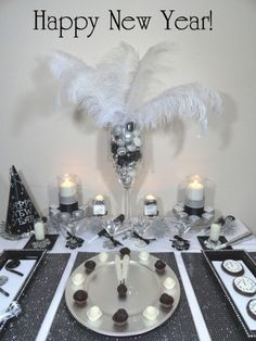 Black and silver New Year's table.