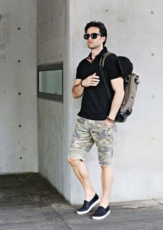 CASUAL SLIM FIT CAMOUFLAGE SHORT PANTS #strunway