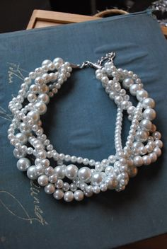 Chunky Pearl Twisted Statement Necklace by SarahWhiteJewelry