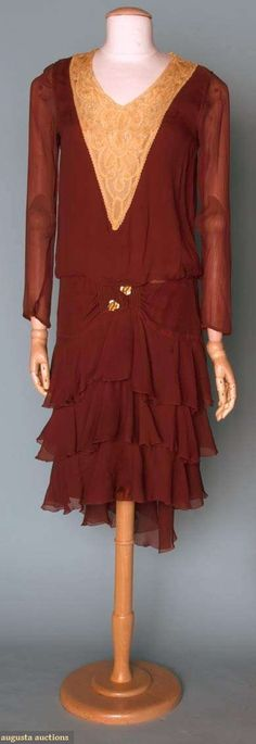Rust chiffon & lace day dress with smocking and flounces,