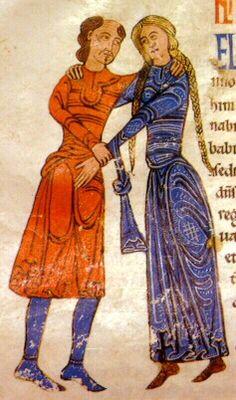 Las mujeres usaban cabellos largos, atados en trenzas y las damas de la nobleza lucían coronas sobre un velo o pañuelo fino. Se adornaban con collares, brazaletes, broches y otras joyas.    Los caballeros usaban igualmente dos túnicas y posteriormente calzones y calzas (pantalones cortos y medias). El hombre solìa usar barba y cabellos cortos y cubrían sus cabezas con gorros de lana o capuchas.