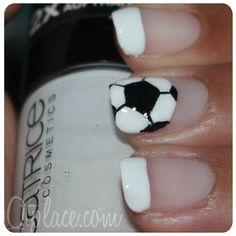 For the World Cup: soccer nails.soccer ball on pointer and # on thumb Nail Polish Art, Nail Polish Colors, Nail Art, Love Nails, Pretty Nails, Soccer Nails, Chevron Nails, Fingernail Designs, Nails For Kids