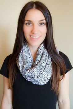 NEW PRINT  Infinity Nursing Scarf  Black and White by Medahm, $20.00