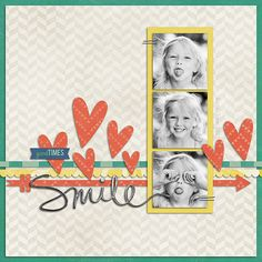#papercraft #scrapbook #layout Smile...3 photos. Could use photo booth strip.