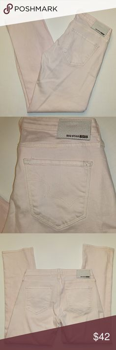 Big star Rikki low-rise Pink jeans Light pink big star Rikki low-rise jeans size 27 in good shape inseam is approximately 28 in. Big Star Jeans Ankle & Cropped