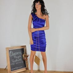 Check out Sze 2 / 4 Retro 80's  Purple Party dress, Shiny Satin by B. Smart size S Made in USA on eleanorfayesfashion