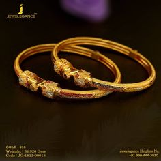 Gold 916 Premium Design Get in touch with us on Gold Bangles Design, Gold Jewellery Design, Gold Jewelry, India Jewelry, Labret Jewelry, Jewelry Collection, Jewelry Patterns, Jewelry Ideas, Bengali Bride