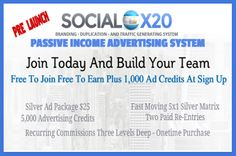 ***SocialX20 In Pre-Launch Til March 28,2015... Sign Up Now & Build Your Team***