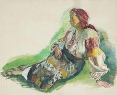 Woman from Muscel - Iosif Iser - Expressionism, 1935 Art Database, Gouache, Art History, Parisian, Portrait, Artwork, Painting, Image, Woman