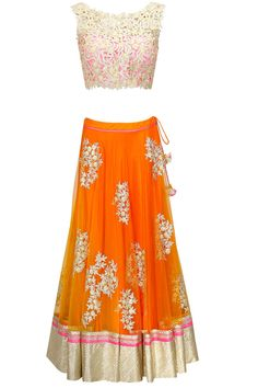 Handpicked by Pataka Guddi - Amrita Thakur Orange embroidered lehenga with pink cutwork blouse and dupatta (Perniapopupshop.com)