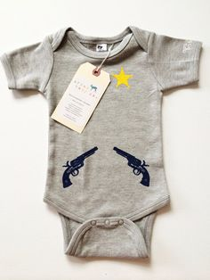 Gray Sheriff Guns & Badge Baby, Infant, Toddler, Newborn Bodysuit, Outfit | Urban Baby Co.