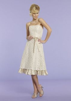 evening dresses evening dresses long evening dresses long lace a-line strapless sashes/lace tea-length glamorous natural ivory satin celebrity dresses Taffeta Bridesmaid Dress, Short Bridesmaid Dresses, Lace Bridesmaid Dresses, Strapless Dress Formal, Formal Dresses, Dress P, Lace Dress, Party Dress, Always And Forever Bridal