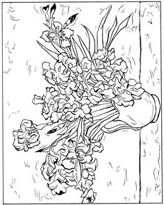 coloring page Vincent van Gogh Kids-n-Fun.com