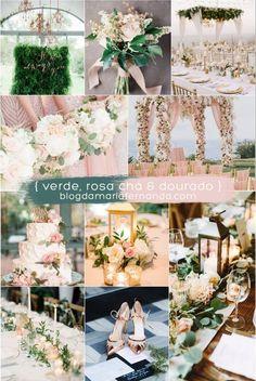 Decoração de Casamento : Paleta de Cores Verde, Rosa Chá e Dourado | Wedding Color Palette Green, Rose and Gold / Green Light Pink and Gold / Blush, Green and Gold