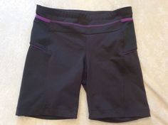 Athleta Fitness Shorts Small presto Grey Purple Womens Side Pockets Yoga Run #Athleta #Shorts
