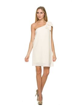 Stunning one shoulder dress that will make you feel like you are the one! I'm the One Dress features one shoulder with bow, lined and crepe fabric.  Lined 100% Polyester Made in the USA