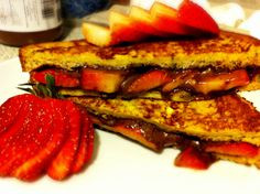 Stuffed French Toast - strawberries and nutella. I'm sure this needs a dollop of whipped cream ...