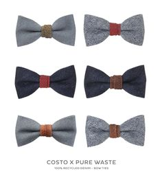 Costo x Pure Waste - 100% Recycled Denim Bow Ties with Fish Skin Details.  Available online www.costo.fi