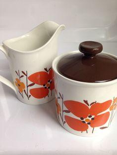 Vintage Retro Creamer + Sugar Pot,Brown/Orange/Red Flower,Johnson Bros,England Sugar Pot, Johnson Bros, Orange Red, Red Flowers, Retro Vintage, England, Brown, Kitchen, Cooking
