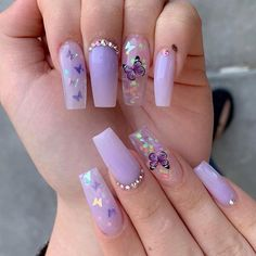 purple nails with butterflies * purple nails ; purple nails with butterflies Purple Acrylic Nails, Acrylic Nails Coffin Short, Summer Acrylic Nails, Best Acrylic Nails, Purple Nails, Acrylic Nail Designs, Coffin Nails, Pastel Purple, Dark Purple