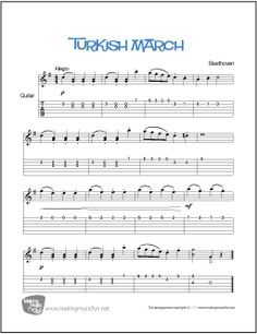 Turkish March (Beethoven) | Print and Download Easy Guitar Sheet Music (TAB) Format:PDF Pages:1 #guitarlessons #makingmusicfun Easy Piano Sheet Music, Guitar Sheet Music, Piano Music, Free Printable Sheet Music, Free Sheet Music, Guitar Lessons For Kids, Music Lessons, Easy Guitar Tabs, Music Tabs