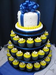 Blue and Yellow Wedding Cupcakes with a Small Cake on the Top! Blue Yellow Weddings, Navy Blue Wedding Cakes, Wedding Cakes With Cupcakes, Fun Cupcakes, Cupcake Cakes, Cup Cakes, Cupcake Wedding, Wedding Favours, Wedding Bells