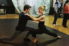 Keenan practicing her steps with Nicolas for the High Strung Movie.