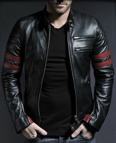 Black Leather Jacket with Red straps its an attractive design leather jacket for rider racers and bikers in short for everyone who likes it .www.styloleather.com have it with affordable price and in genuine leather of good quality . Try it you will love it :)