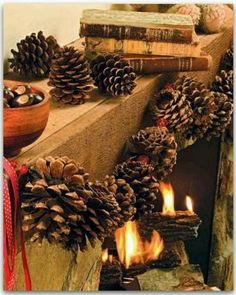 pinecone garland This would be cool with little pumpkins & the oranges clove pommanders
