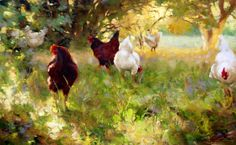 Buy animal fowls oil painting reproduction from Toperfect's artists in reasonable prices; our painters are famous for animal fowls paintings for sale, landscape art, portrait from photos, wall decor pictures, and more paintings on canvas. Chicken Painting, Chicken Art, Paintings I Love, Animal Paintings, Oil Paintings, Bird Art, Artist Art, Landscape Art, Online Art
