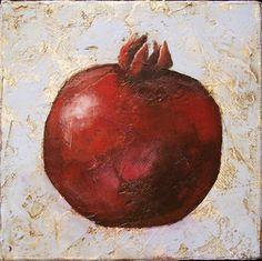 Pomegranate Food Culinary Art 6x6x15 inch by LisaMDSkinnerArt