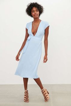 Kimchi Blue Plunging Cap-Sleeve Midi Dress - Urban Outfitters