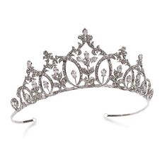 Perfect Love is a truly romantic fairytale tiara. Influenced by Renaissance styling, solitaire cut stones form sweeping curves between columns of teardrops atop of intricate leaf designs . For brides wanting a classical princess tiara to best compliment r Wedding Tiaras, Wedding Veils, Wedding Ring, Wedding Bands, Dream Wedding, Wedding Dress, Royal Jewelry, Bridal Accessories, Jewelry Accessories