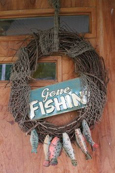 Fishing wreath. Gone fishin. Father's Day gift. by JBakerDesign, $32.00