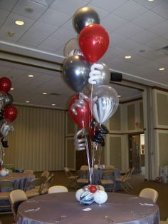 Latex Balloon Centerpiece with marble (agate) balloons & CurlyQs . . .great for Bar & Bat Mitzvahs, Birthday parties & more!