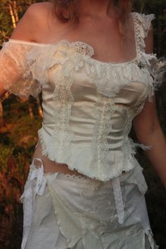 Bridal Faerie silk top with corset lacing created par FractalWings, $108,00