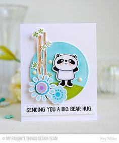 Happy Pandas stamp set and Die-namics, Build-able Blooms stamp set and Die-namics, Zig Zag Stitched Circle STAX Die-namics - Kay Miller #mftstamps