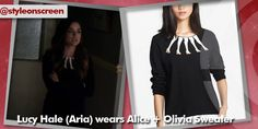 Where did Lucy Hale (Aria) get her black sweater with leg motif neckline from on Pretty Little Liars 26/08/14? - Style on Screen