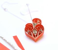 Upcycled Valentines quilled paper earrings by VBPureDesigns