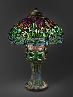 Hanging Head Dragonfly Shade on Mosaic and Turtleback Base   By 1906  Design attributed to Clara Pierce Wolcott Driscoll
