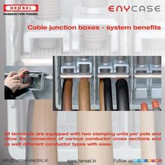 All terminals are equipped with two clamping units per pole and allow the connection of various conductor cross sections and as well different conductor types with ease. Cross Section, Junction Boxes, Conductors, Connection, The Unit