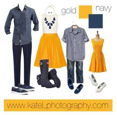 Gold + Navy family outfit inspiration: what to wear for a family photo session in the spring or summer. Created by Kate Lemmon, www.kateLphotogra...