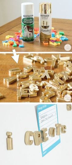 DIY Gold Magnetic Letters (cool idea for the fridge!) -- Home decor ideas for cheap! Lots of Awesome and Easy DIY spray paint ideas for projects home decor wall art and furniture!! This makes refurbishing old things so much fun! Just visit thrift stores and dollar stores to make things on a budget! Listotic.com #DIYHomeDecorPainting