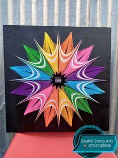 String Art Templates, String Art Patterns, Fall Crafts, Arts And Crafts, String Wall Art, Flow Arts, Pin Art, Origami Art, Cross Stitch Flowers