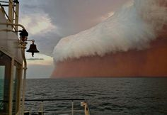 A menacing-looking dust storm on the west coast of Australia, was captured on camera by a tug boat worker.