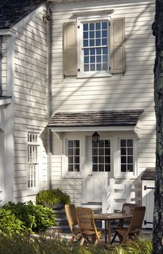 John B. Murray Architect, patio and exterior storage Exterior Colors, Exterior Paint, Exterior Design, Door Design, Porches, Front Door Overhang, Back Doors, White Houses, Maine House