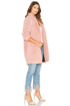 Maison Scotch Teddy Bear Cocoon Faux Fur Coat in Blossom Melange | REVOLVE