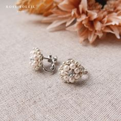 Rose Soleil Jewelry Blossom Wind Collection   パールとスワロフスキークリスタルイヤリング Spring Collection, Rose, Pearl Earrings, Pearls, Jewelry, Pink, Pearl Studs, Jewlery, Jewerly