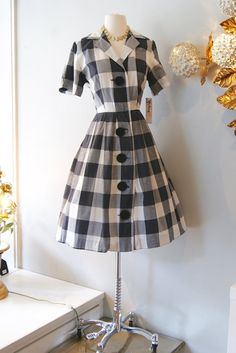 50s Dress // Vintage 1950s Fun Checkered Dress M by xtabayvintage, $125.00