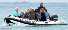 6/8/13.  Princess Beatrice, her boyfriend Dave Clark, Ashton Kutcher and Mila Kunis, all pictured on a boat in St Tropez earlier today
